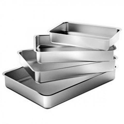 Imagem de Jogo 4 Formas Assadeiras Retangulares em Aluminio para Bolos e Tortas  Vissotex