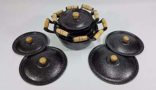 Imagem de Jogo 5 peças Panelas Caçarolas de Alumínio Batido Craqueada