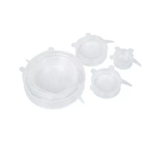 Imagem de Jogo 6 Tampas De Panela Silicone Reutilizável Elástica Transparente