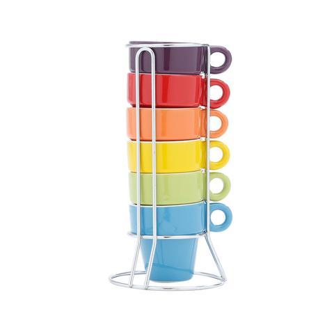 Imagem de Jogo 6 Xícaras 60ml Para Café De Porcelana Coloridas Com Suporte - R30367