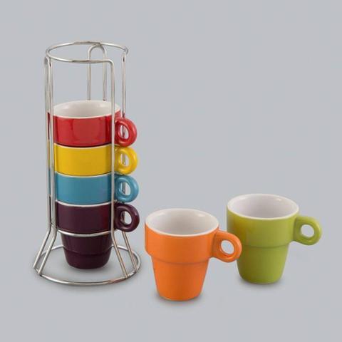 Imagem de Jogo 6 Xícaras De Café De Porcelana 60ml Coloridas Com Suporte