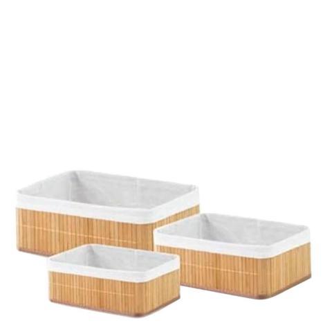 Imagem de Jogo Cestos Organizadores Bambu 3 Peças Pequena Média Grande