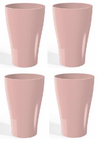 Imagem de Jogo com  04 copos p/ água ou suco  300ml rosa - 4902