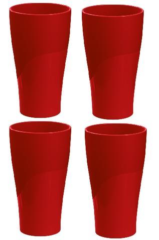 Imagem de Jogo com 04 copos p/ água ou suco 300ml vermelho - 4904