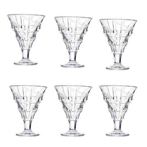 Imagem de Jogo De 6 Tacas Para Sorvete Gelatto Freddo Em Cristal Ecologico 220Ml A12,5Cm Transparente - 24054