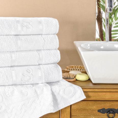 Imagem de Jogo de Banho Toalha Florença Com Lese Luxo 5 Peças Branco