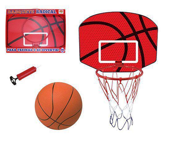 Imagem de Jogo de basquete com tabela + aro + bola e bomba radical 61x46,5x37cm