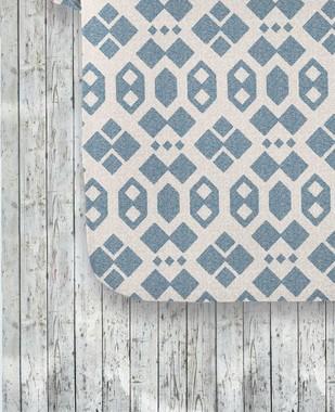 Imagem de Jogo de Cama 150 fios Geométrico Azul Andre  - Casal 4 peças Corttex