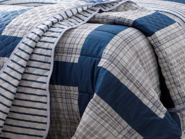 Imagem de Jogo de Cama Casal 4 Peças Estampado Azul Masoala Serve Box Sultan