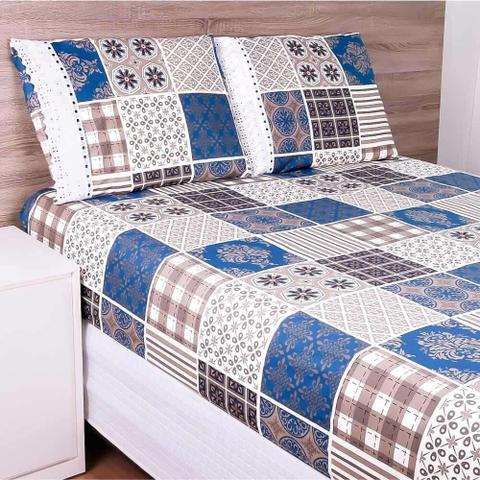 Imagem de Jogo de Cama Casal Box 100 Algodão Sheik 03 Peças Estampado - Patchwork Azul