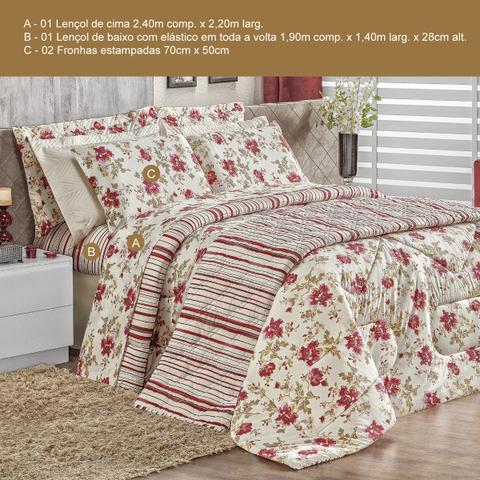 Imagem de Jogo de Cama CASAL (Lençol 4 Peças) Malha Fio Penteado 30/1 100% Algodão  Top Line Floral Rosê