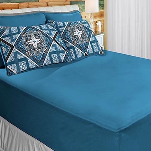 Imagem de Jogo de cama Estampado Malha SBX Solteiro Azul Linha Rubi