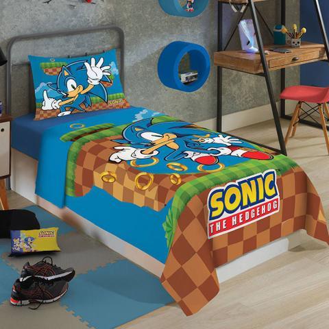 Imagem de Jogo de Cama Infantil 2 Peças Sonic