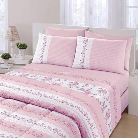 Imagem de Jogo de cama Royal Plus Casal 100% algodão 4 Peças Santista