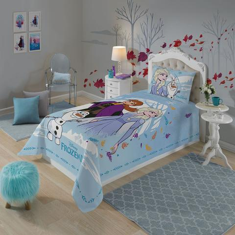 Imagem de Jogo De Cama Solteiro Infantil Lepper Frozen 3 Peças Azul