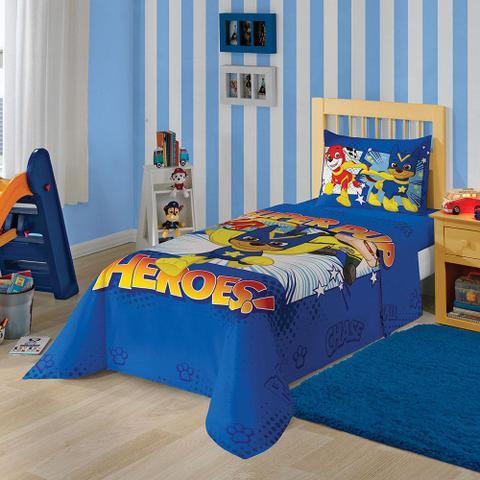 Imagem de Jogo de Cama Solteiro Patrulha Canina Menino 3 peças Azul - Lepper