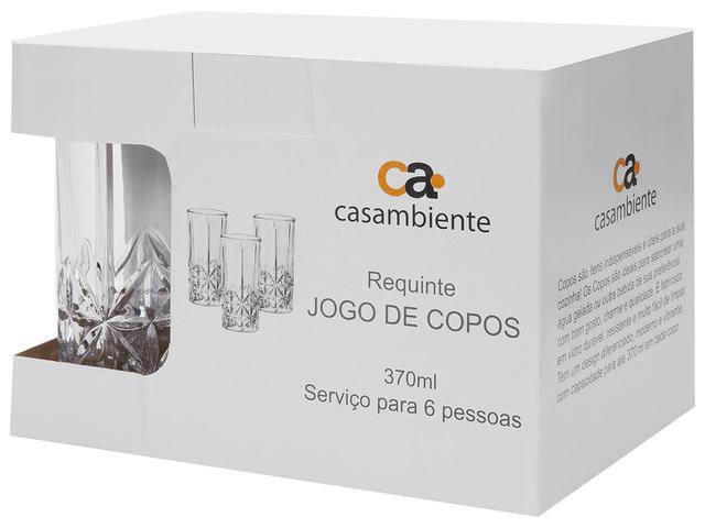 Imagem de Jogo de Copos de Vidro 370ml 6 Peças