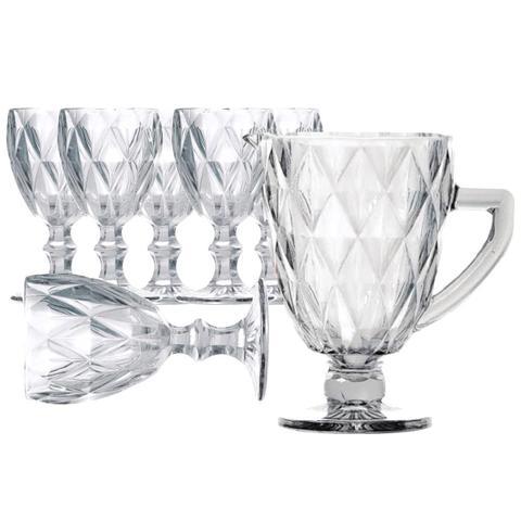Imagem de Jogo de Jarra e Taça  Diamond Transparente Lyor