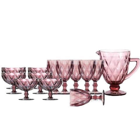 Imagem de Jogo de Jarra e Taças para Água e Sobremesa Diamond Rosa