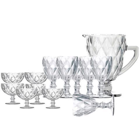 Imagem de Jogo de Jarra e Taças para Água e Sobremesa Diamond Transparentes