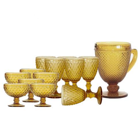 Imagem de Jogo de Jarra,Taças para Agua e Taças de Sobremesa Bico de Abacaxi Ambar