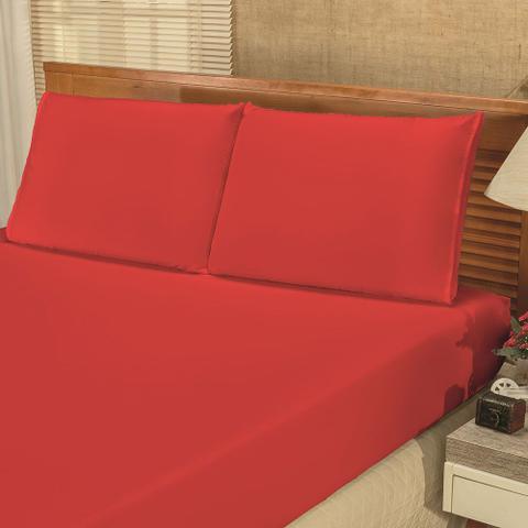 Imagem de Jogo de Lençol Casal Padrão Liso Bianca 03 Peças Tecido Microfibra - Vermelho
