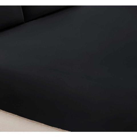 Imagem de Jogo de Lençol Casal Padrão Liso Pati 03 Peças Tecido Microfibra - Preto