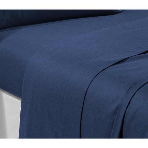 36d2aaccf0 Imagem de Jogo de Lençol Casal Trajanus 04 Peças 100 Algodão 180 Fios - Azul  Marinho