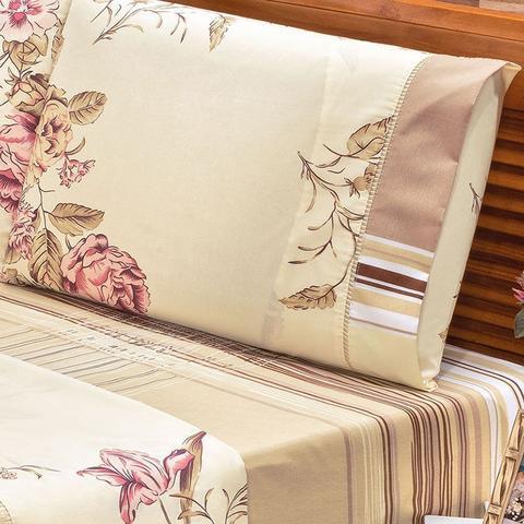Imagem de Jogo de Lençol para Cama King Size 3 Peças Requinte Floral Bege 180 Fios