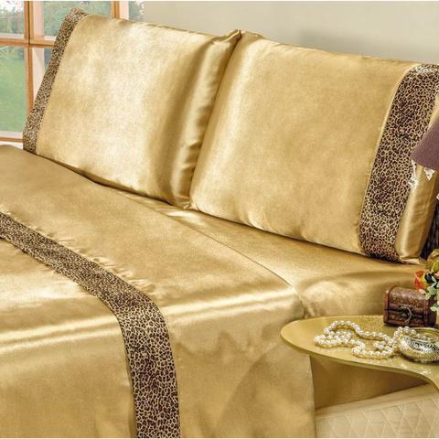 7d010c0fc1 Imagem de Jogo de Lençol Queen Size Cetim Oncinha Safari 4 Peças - Dourado
