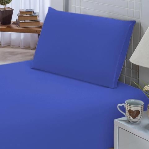 Imagem de Jogo de Lençol Solteiro Padrão Liso Pati 02 Peças Tecido Microfibra - Azul Royal