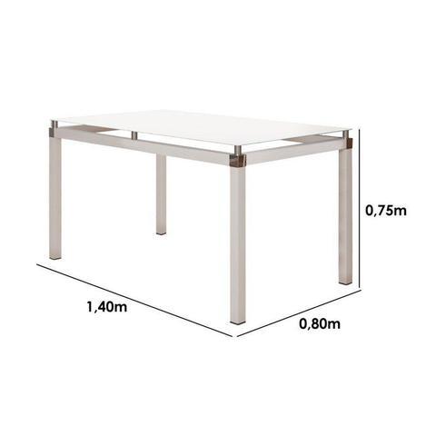 Imagem de Jogo de Mesa Malva 140cm e 6 Cadeiras 119 Branco/Platina - Artefamol