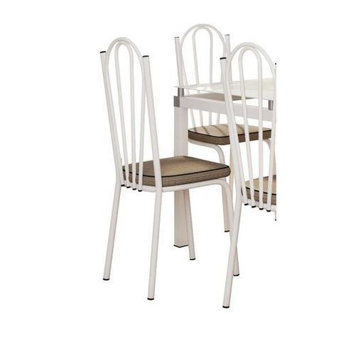 Imagem de Jogo de Mesa Malva Vidro Branco 140 Cm com 6 Cadeiras 121 Branco Ratan Artefamol