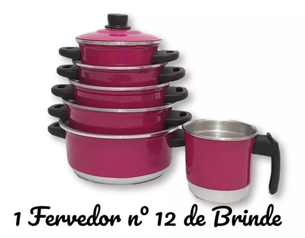 Imagem de Jogo de Panela 5 pçs Rosa Pink   fervedor nº 12 de Brinde