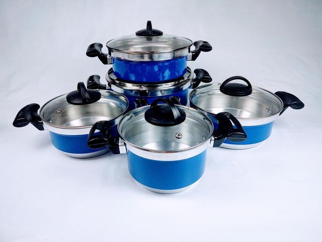 Imagem de Jogo de Panela Alumínio Rebeca - 5 Peças Com Tampa de Vidro / Azul