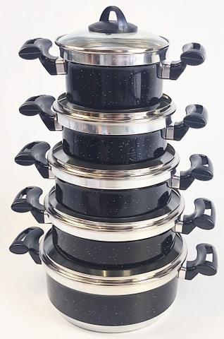 Imagem de Jogo de Panela Alumínio Rebeca - 5 Peças Com Tampa de Vidro / Preto Pintadinho