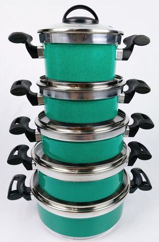 Imagem de Jogo de Panela Alumínio Rebeca - 5 Peças Com Tampa de Vidro / Verde