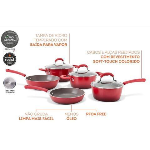 Imagem de Jogo De Panela Com Panela Frigideira Ceramic Life Select Vermelho 5 Peças