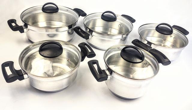 Imagem de Jogo de Panela Rebeca - 5 Peças Com Tampa de Vidro / Alumínio Polido