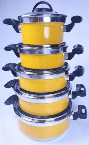Imagem de Jogo de Panela Rebeca - 5 Peças Com Tampa de Vidro + Brinde / Amarelo - Tenesin Oficial