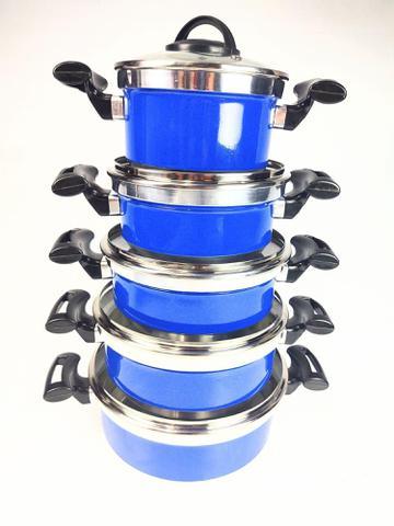 Imagem de Jogo de Panela Rebeca - 5 Peças Com Tampa de Vidro + Brinde / Azul - Tenesin Oficial