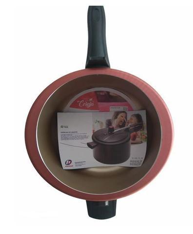 Imagem de Jogo de Panelas 10 Peças Antiaderente Teflon Cereja com Panela de Pressão 4,5 Litros Tampa de Vidro