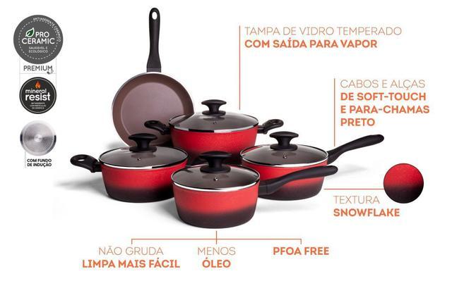 Imagem de Jogo de Panelas 5 Peças Com Fundo De Indução CeramicLife Prime Vermelha Brinox