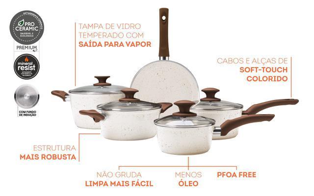 Imagem de Jogo de Panelas 5 Peças Com Fundo De Indução Optima - Vanilla- Brinox