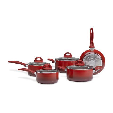 Imagem de Jogo de Panelas 5 Peças Indução Cerâmica Vermelho Tampa Vidro Brinox