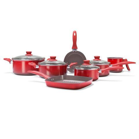 Imagem de Jogo de panelas Brinox Ceramic Life Smart 7 peças vermelha Brinox
