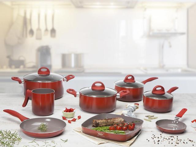 Imagem de Jogo de Panelas Brinox com Revestimento Cerâmico - Vermelho 8 Peças Ceramic Life Smart Plus 4791/104
