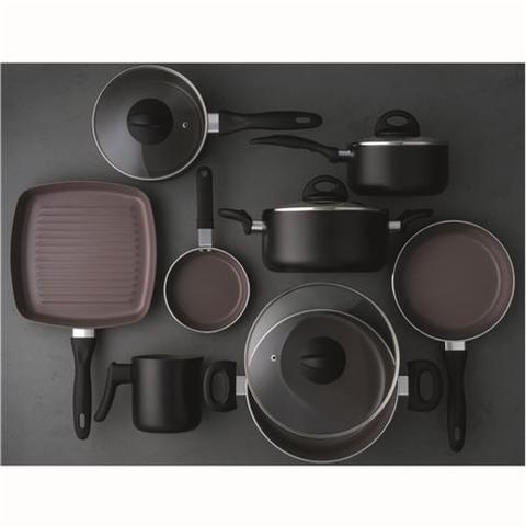 Imagem de Jogo de Panelas Brinox de Alumínio Preto - 8 Peças Ceramic Life Smart Plus 4791/103