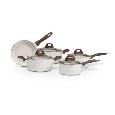 Imagem de Jogo de Panelas Brinox Granada Ceramic Kit 5 Peças Conjunto Indução Vermelha