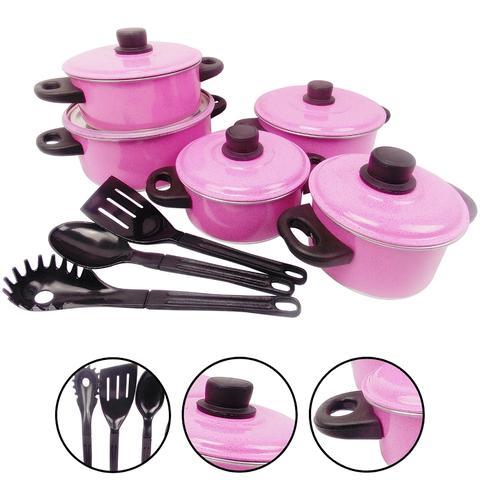 Imagem de Jogo de Panelas Caçarolas Alumínio Rosa 5 Peças + Espatulas
